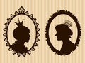 Prince and princess framed silhouettes on striped background Stock Image