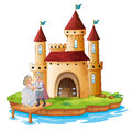 A prince and a princess in front of the castle illustration on white background Stock Photography