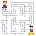 Prince princess maze for kids and game children help the little find the way to reach the Stock Images