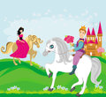 Prince and princess on their horses illustration Royalty Free Stock Images