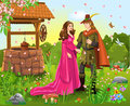 Prince and princess at the wishing well vector illustration of a fairytale scene with a a in a romantic landscape Stock Photography