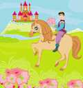 Prince riding a horse to the princess illustration Royalty Free Stock Images