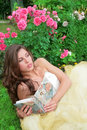 Princes in white-golden gown with book Royalty Free Stock Photo