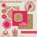 Princesa girl birthday set Imagem de Stock