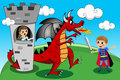 Princesa prince dragon tower kid kids tale Foto de Stock Royalty Free
