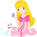 Princess beautiful and her cat and looking at a butterfly Stock Image