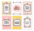 Princess cards. Vintage cute pink frame with gold crown, girl birthday invitation card, baby shower greeting card vector Royalty Free Stock Photo