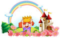 A princess with a castle at the back illustration of on white background Royalty Free Stock Photos