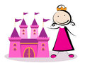Princess with castle little playing her Royalty Free Stock Image