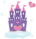 The princess castle a pink and purple on a cloud with a pretty in love waiting for her blue prince Royalty Free Stock Photos