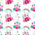 Princess castle seamless pattern with fairy tale