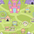 Princess castle seamless play mat activity game for girls. Royalty Free Stock Photo