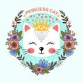 Princess cat. Cute, cartoon cat. In the frame of flowers
