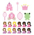 Princess collection a set of themed items great for birthday invitations or anything else Royalty Free Stock Photo