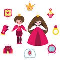Princess design elements set vector cute cartoon prince and accessories isolated on white Stock Images