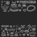 Princess Doodle icons For baby shower, toy shop