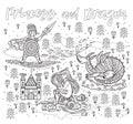 Princess and Dragon art in outline. Magic fantasy print Royalty Free Stock Photo