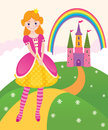 Princess fairy kingdom vector illustration of a little in the Royalty Free Stock Photo