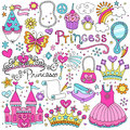 Princess Fairytale Tiara Vector Doodles Set Royalty Free Stock Photos
