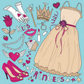 Princess fashion set Royalty Free Stock Photography