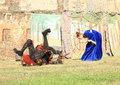 Princess fighting with spider theatre play and at conquest of water castle svihov czech republic the th of jule Stock Image