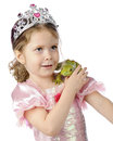 Princess and a frog an adorable preschool enjoying frong on her shoulder on white background Stock Images