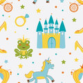 Princess frog seamless pattern Stock Photo