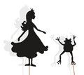 Princess and Frog shadow puppets on white
