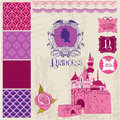 Princess girl birthday set scrapbook design elements in Royalty Free Stock Images