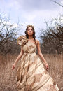 Princess in gold dress Royalty Free Stock Images