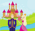 Princess got flowers from prince illustration Royalty Free Stock Images