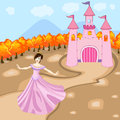 Princess with her castle cute little in front of Royalty Free Stock Photography