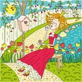 Princess this illustration has lovely in summer garden Stock Photography