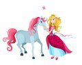Princess illustration of a with a horse Stock Photography