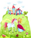 Princess illustration of a with a horse Stock Image