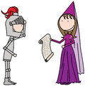 Princess and knight cartoon illustration of a a Stock Images