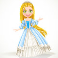 Princess with long hair in a blue dress cute young Stock Image