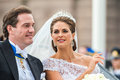 Princess madeleine and chris o neill ride in a carriage on the way to riddarholmen after their wedding stockholm sweden june Royalty Free Stock Image