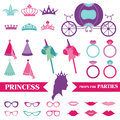 Princess party set photobooth props crown rings glasses in Royalty Free Stock Photo