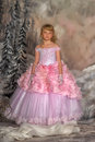 Princess in a pink dress cute girl on winter background studio Royalty Free Stock Images
