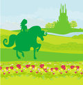 Princess riding a horse into the castle illustration Royalty Free Stock Photos