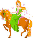 Princess riding horse. Spring Royalty Free Stock Photo