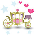 Princess royal carriage gold with pink heart diamonds and gems Royalty Free Stock Photography