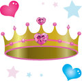 Princess royal crown with pink heart diamonds and gems Stock Photo