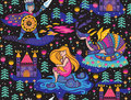 Princess seamless pattern for textile with castle. Magic fantasy background