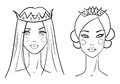 Princess sketches style vector illustration Stock Images