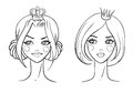 Princess sketches style vector illustration Stock Image