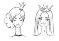 Princess sketches style vector illustration Stock Photography