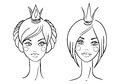 Princess sketches style vector illustration Royalty Free Stock Images