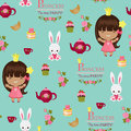 Princess tea time party seamless pattern and bunny Royalty Free Stock Image